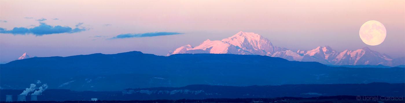 Pleine Lune et Mont Blanc
