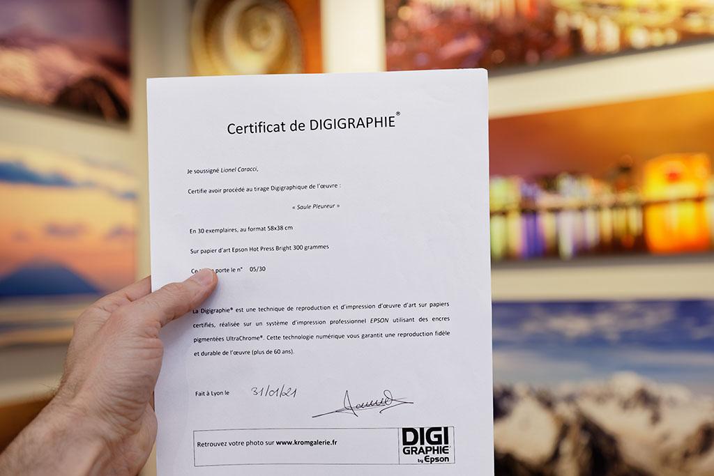 Certificat d'authenticité qui accompagne le tirage photo