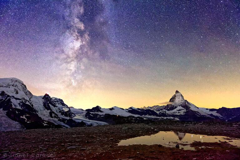 Photo des Alpes - Cervin et Voie Lactée - © Lionel Caracci Krom Galerie