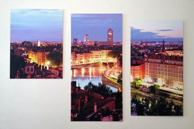 Photo d'art de Lyon en triptyque, chez un client de Krom Galerie